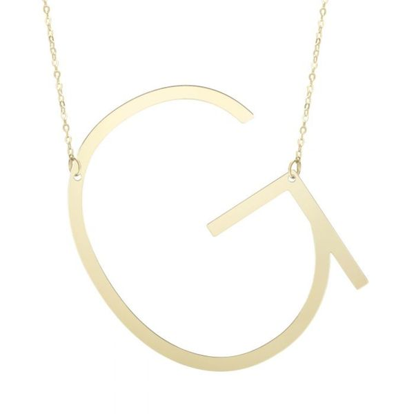 "Large ""G"" Initial Necklace in Yellow Gold Bremer Jewelry Peoria, IL"