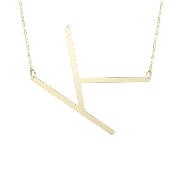 "Large ""K"" Initial Necklace in Yellow Gold Bremer Jewelry Peoria, IL"
