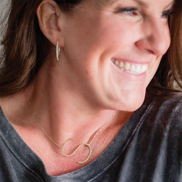 "Large ""O"" Initial Necklace in Yellow Gold Image 4 Bremer Jewelry Peoria, IL"