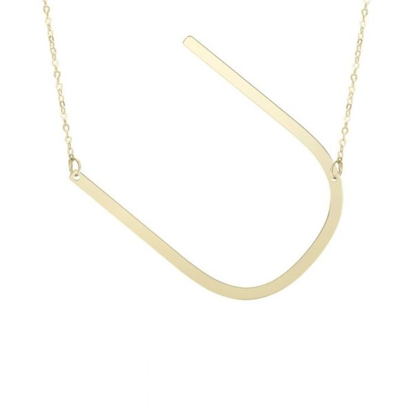 "Large ""U"" Initial Necklace in Yellow Gold Bremer Jewelry Peoria, IL"