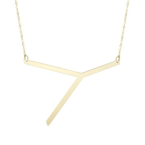 "Large ""Y"" Initial Necklace in Yellow Gold Bremer Jewelry Peoria, IL"