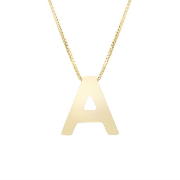 "Small ""A"" Initial Necklace in Yellow Gold Bremer Jewelry Peoria, IL"