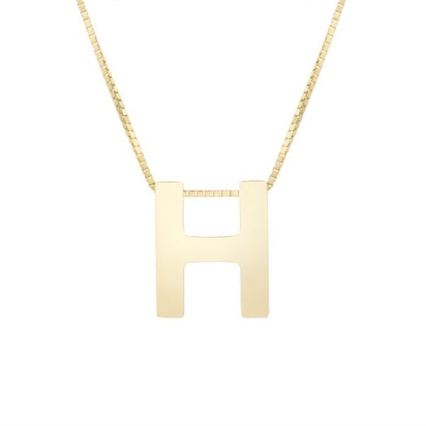 "Small ""H"" Initial Necklace in Yellow Gold Bremer Jewelry Peoria, IL"