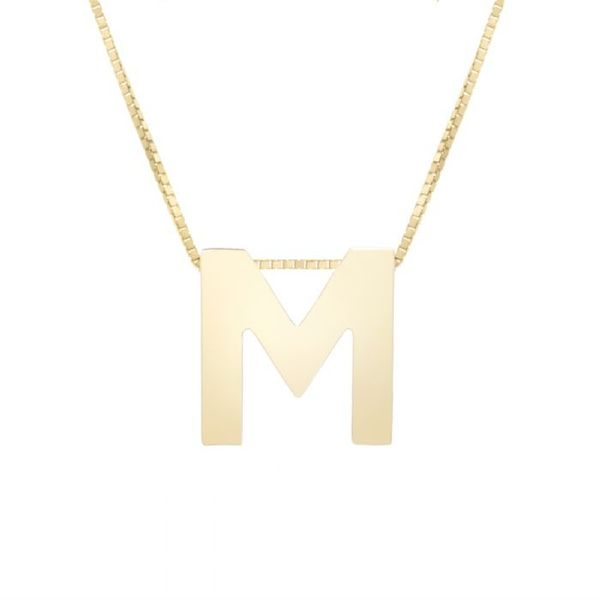 "Small ""M"" Initial Necklace in Yellow Gold Bremer Jewelry Peoria, IL"