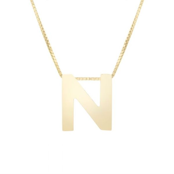 "Small ""N"" Initial Necklace in Yellow Gold Bremer Jewelry Peoria, IL"