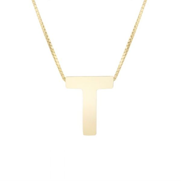 "Small ""T"" Initial Necklace in Yellow Gold Bremer Jewelry Peoria, IL"