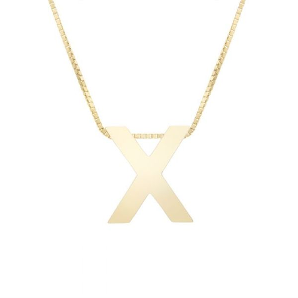 "Small ""X"" Initial Necklace in Yellow Gold Bremer Jewelry Peoria, IL"