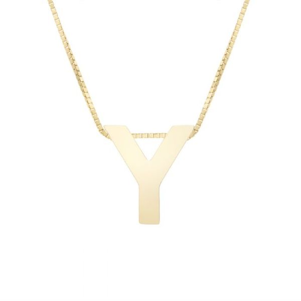 "Small ""Y"" Initial Necklace in Yellow Gold Bremer Jewelry Peoria, IL"