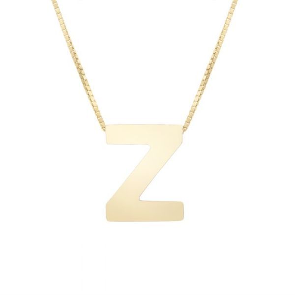 "Small ""Z"" Initial Necklace in Yellow Gold Bremer Jewelry Peoria, IL"