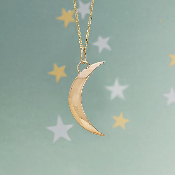 To The Moon & Back Crescent Moon Necklace in Yellow Gold Image 2 Bremer Jewelry Peoria, IL
