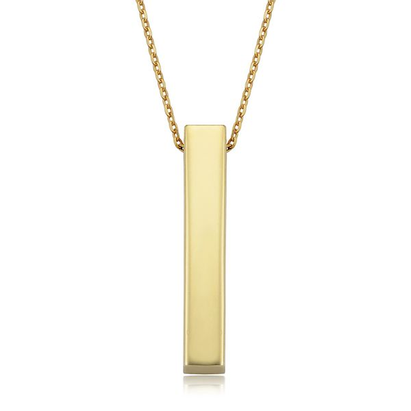 You Are My Sunshine 3D Vertical Bar Necklace in Yellow Gold Bremer Jewelry Peoria, IL