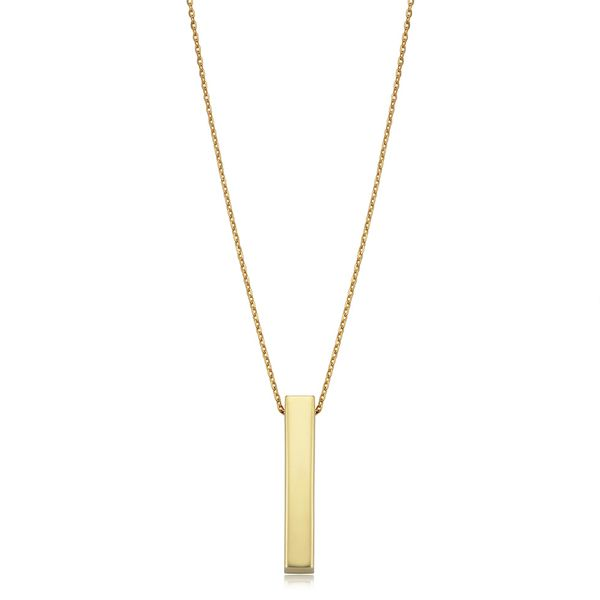 You Are My Sunshine 3D Vertical Bar Necklace in Yellow Gold Image 2 Bremer Jewelry Peoria, IL