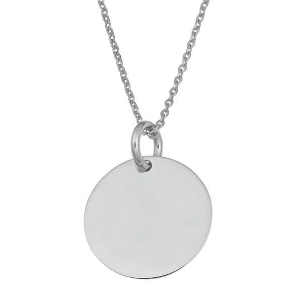 Mini Engravable Disc Necklace in White Gold Bremer Jewelry Peoria, IL