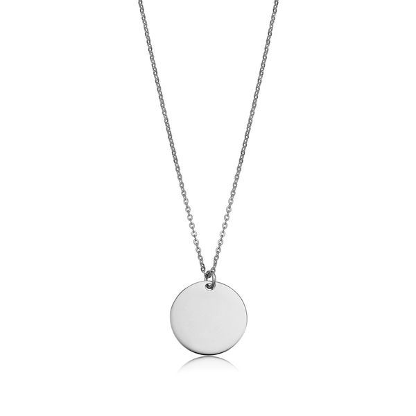 Mini Engravable Disc Necklace in White Gold Image 3 Bremer Jewelry Peoria, IL
