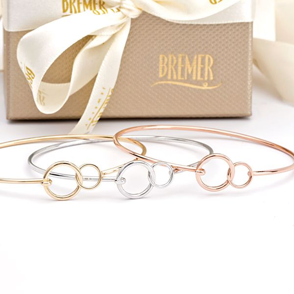 You + Me Plain Bangle Bracelet in Yellow Gold Image 4 Bremer Jewelry Peoria, IL