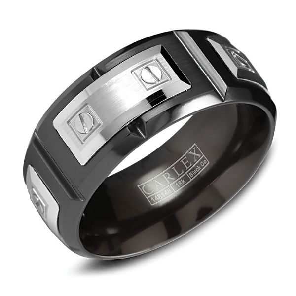 Carlex Two-Tone Wedding Band in Black Cobalt and White Gold Bremer Jewelry Peoria, IL