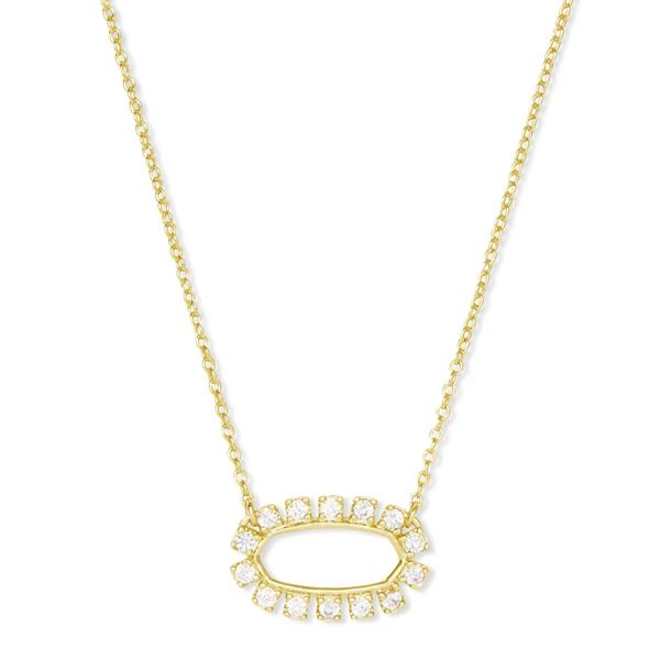 Kendra Scott Elisa Open Frame Crystal Necklace in Gold Bremer Jewelry Peoria, IL