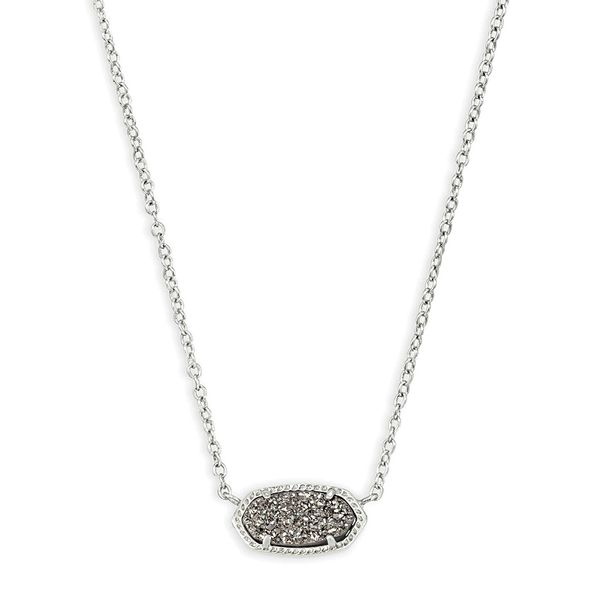 Kendra Scott Platinum Drusy Elisa Necklace in Silver Bremer Jewelry Peoria, IL