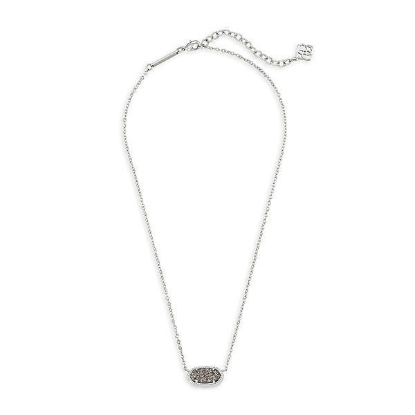 Kendra Scott Platinum Drusy Elisa Necklace in Silver Image 2 Bremer Jewelry Peoria, IL
