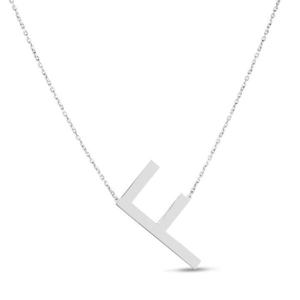 "Large ""F"" Initial Necklace in Sterling Silver Bremer Jewelry Peoria, IL"