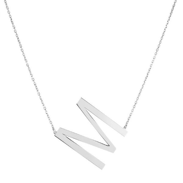 "Large ""M"" Initial Necklace in Sterling Silver Bremer Jewelry Peoria, IL"