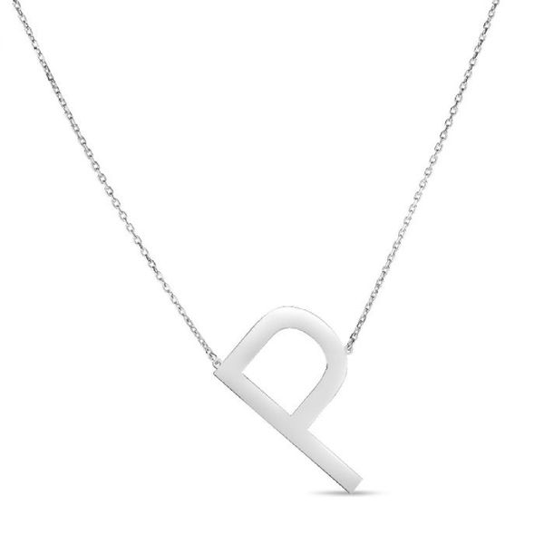 "Large ""P"" Initial Necklace in Sterling Silver Bremer Jewelry Peoria, IL"