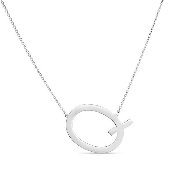 "Large ""Q"" Initial Necklace in Sterling Silver Bremer Jewelry Peoria, IL"