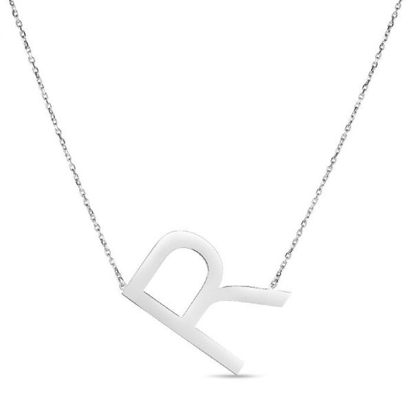 "Large ""R"" Initial Necklace in Sterling Silver Bremer Jewelry Peoria, IL"