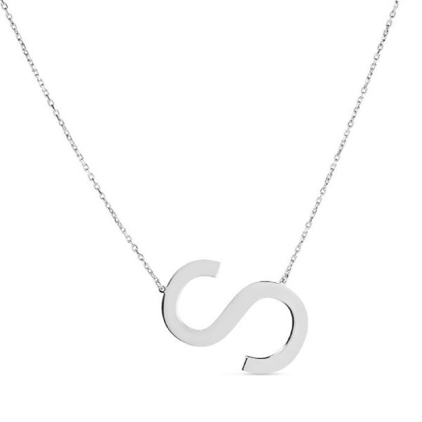 "Large ""S"" Initial Necklace in Sterling Silver Bremer Jewelry Peoria, IL"