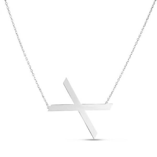 "Large ""X"" Initial Necklace in Sterling Silver Bremer Jewelry Peoria, IL"
