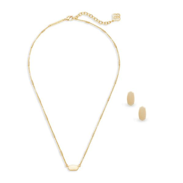 Kendra Scott Fern Necklace and Barrett Earrings Gift Set in Gold Image 2 Bremer Jewelry Peoria, IL