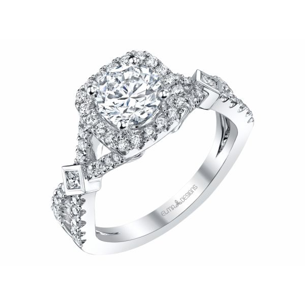 18k white gold engagement ring set with 0.50 carats of diamonds (excluding center stone)