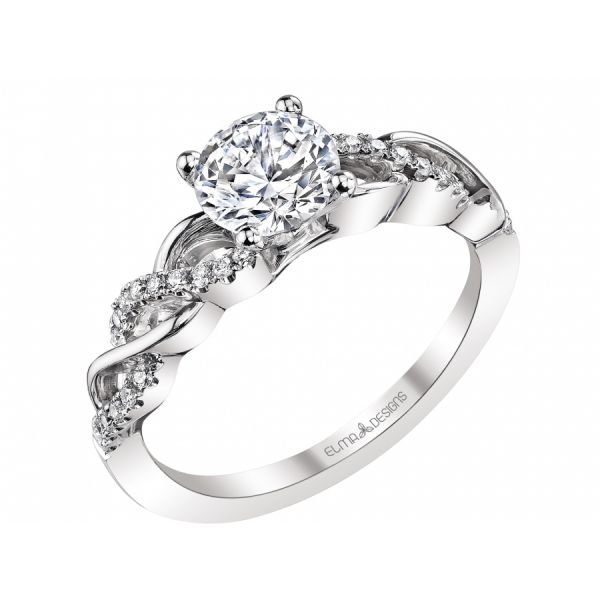 18k white gold engagement ring set with 0.16 carats of diamonds (excluding center stone)