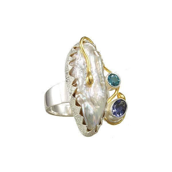 Pearl, Iolite, and Blue Topaz Michou Ring Clater Jewelers Louisville, KY