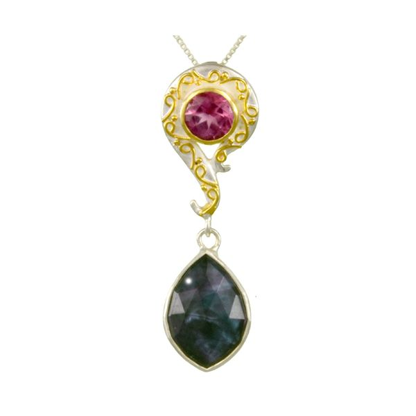 Mother of Pearl, Onyx, Cyrstal Quartz and Raspberry Topaz Michou Necklace Clater Jewelers Louisville, KY