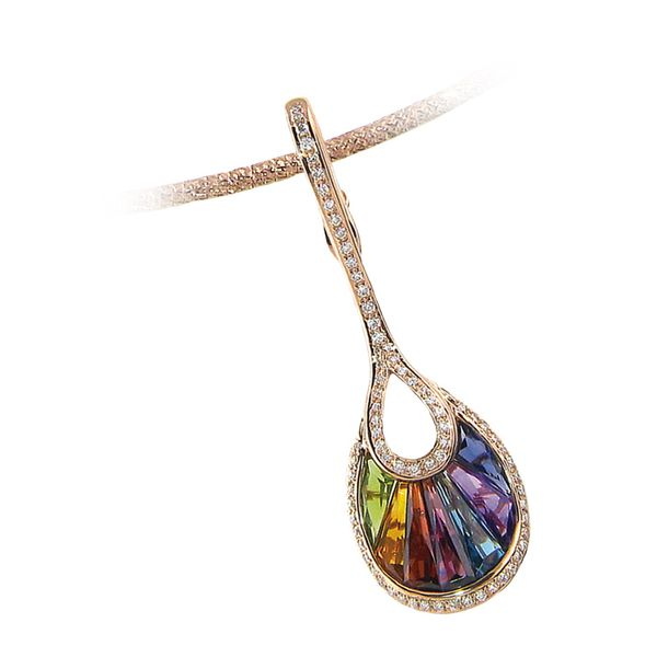 Multi Gemstone in Rainbow Pattern Enhancer Pendant Clater Jewelers Louisville, KY