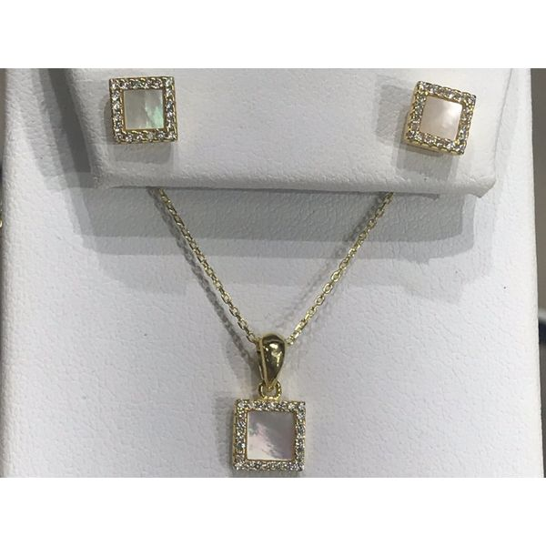 Sterling Silver Square Necklace and Earring Set Confer's Jewelers Bellefonte, PA