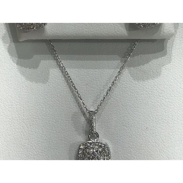 Sterling Silver Cluster CZ Earring and Necklace Set Image 3 Confer's Jewelers Bellefonte, PA