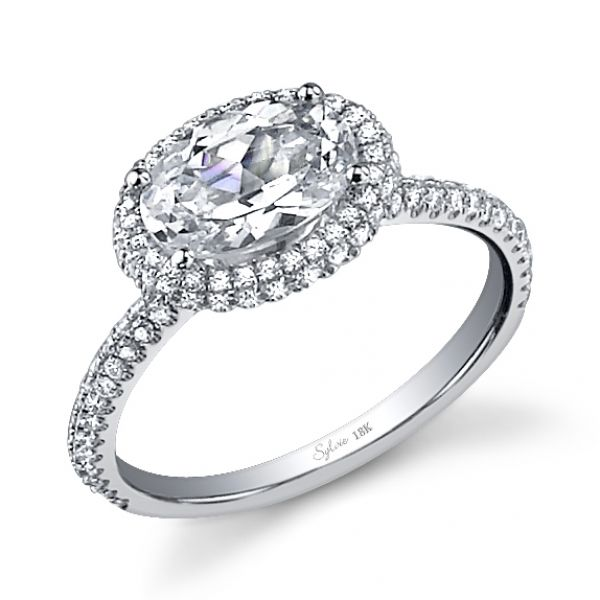 Sylvie East west halo on oval diamond ring