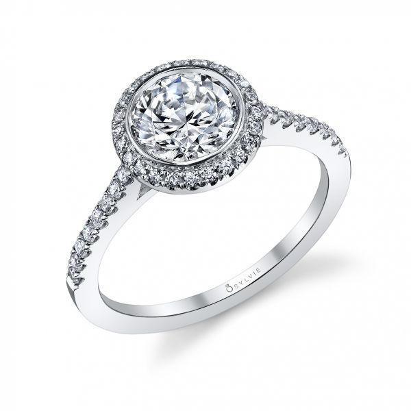Classic Bezel Halo Diamond Engagement Ring Cottage Hill Diamonds Elmhurst, IL