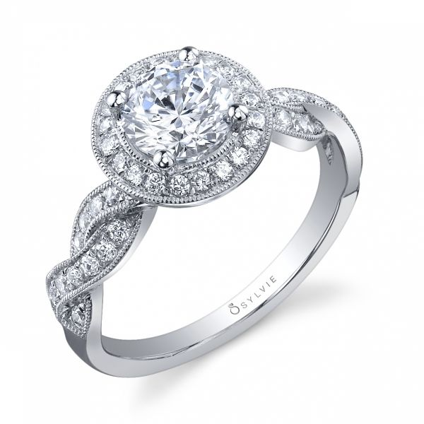 Glamorous Criss-Cross Halo Diamond Engagement Ring Cottage Hill Diamonds Elmhurst, IL