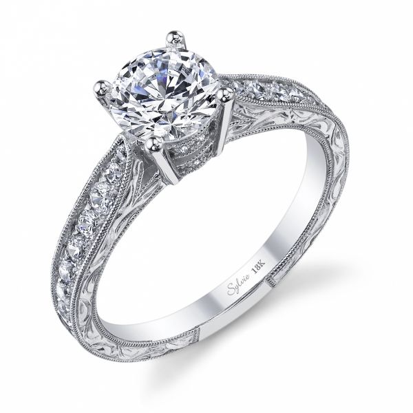 Vintage Engraved Round Diamond Engagement Ring Cottage Hill Diamonds Elmhurst, IL
