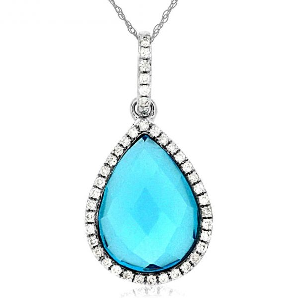 DIAMOND & BLUE TOPAZ PENDANT Cottage Hill Diamonds Elmhurst, IL
