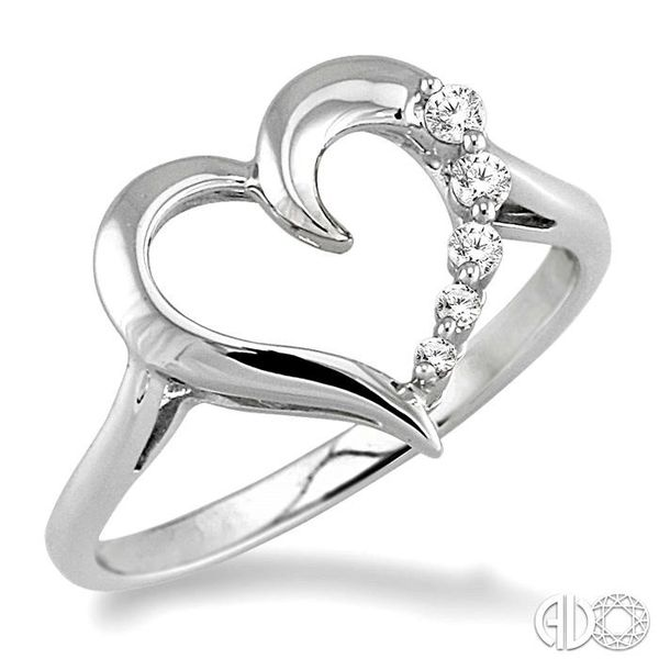 1/10 Ctw Round Cut Diamond Journey Heart Ring in 10K White Gold Coughlin Jewelers St. Clair, MI