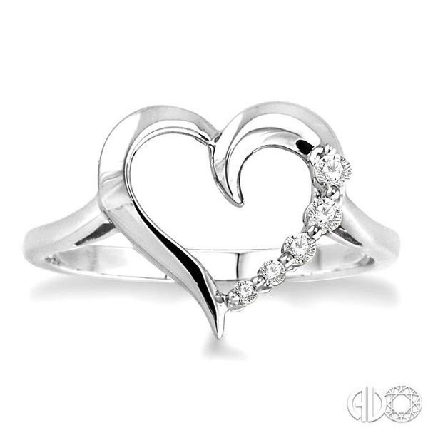 1/10 Ctw Round Cut Diamond Journey Heart Ring in 10K White Gold Image 2 Coughlin Jewelers St. Clair, MI