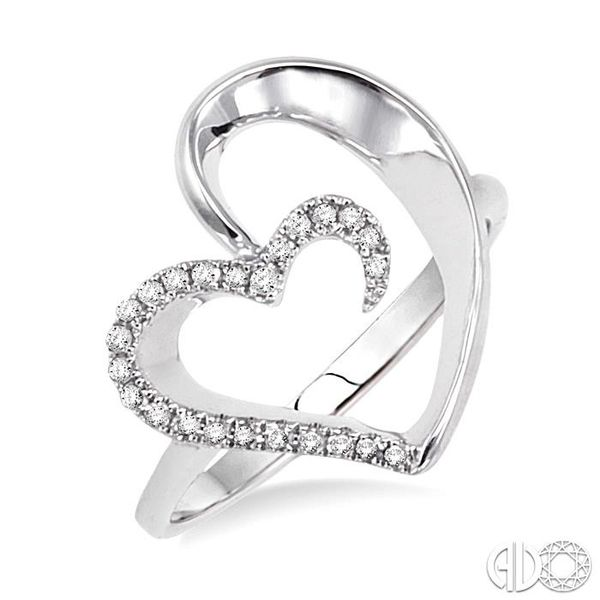 1/10 Ctw Round Cut Diamond Heart Shape Ring in 14K White Gold Coughlin Jewelers St. Clair, MI