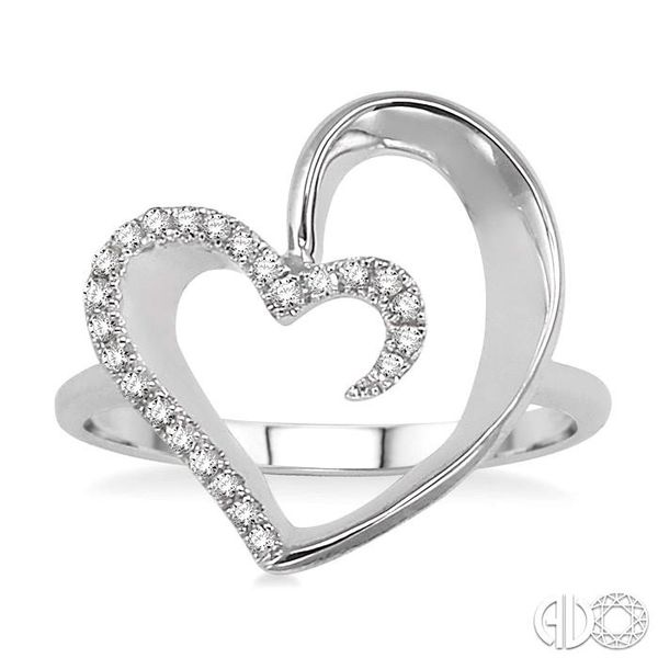1/10 Ctw Round Cut Diamond Heart Shape Ring in 14K White Gold Image 2 Coughlin Jewelers St. Clair, MI