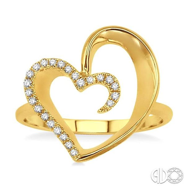 1/10 Ctw Round Cut Diamond Heart Shape Ring in 14K Yellow Gold Image 2 Coughlin Jewelers St. Clair, MI