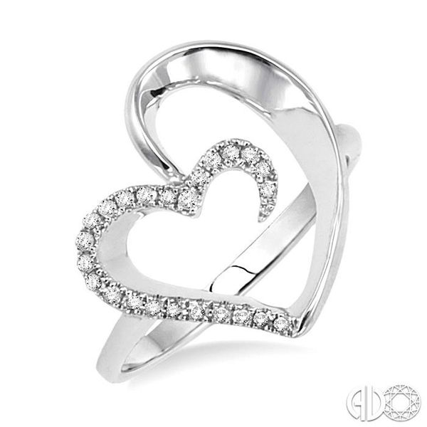 1/10 Ctw Round Cut Diamond Heart Shape Ring in 10K White Gold Coughlin Jewelers St. Clair, MI