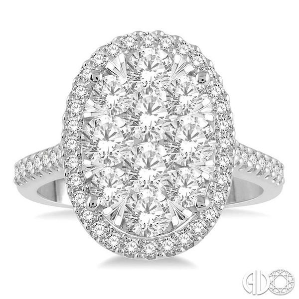 2 Ctw Round Diamond Lovebright Halo Engagement Ring in 14K White and Yellow Gold Image 2 Coughlin Jewelers St. Clair, MI
